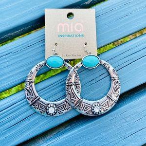 ✨NEW✨Turquoise Stone Hoop Earrings!